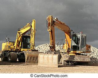 sable, excavateur, jaune