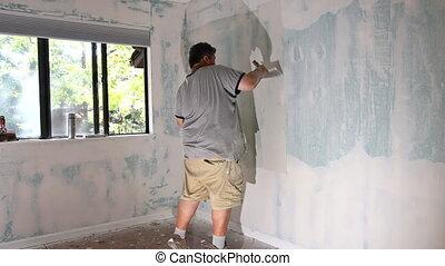 sable, fonctionnement, homme, mur, ponçage, utilisation, drywall, aligner, truelle