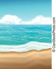 sable, fond, scène, plage