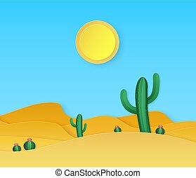 sable, fond, vecteur, dunes, été, papier, succulents, origami, desert., coupure, cactus, paysage, soleil, style