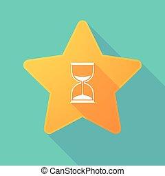 sable, icône, étoile, horloge