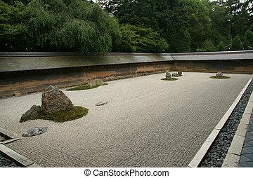 sable, jardin, -, ryoan, ji, kyoto, japon