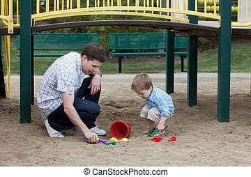 sable, jouer, père, cour de récréation, fils