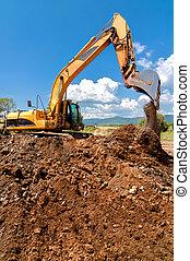 sable, lourd, fonctionnement, devoir, industriel, chargement, jaune, excavateur