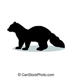 Sable marten mink mammal black silhouette animal. Vector...