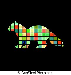 Sable marten mink mammal color silhouette animal. Vector...