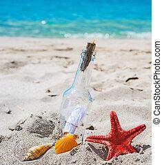 sable, message, bouteille