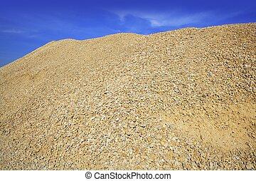 sable, montagne, gravier, béton, jaune, carrière