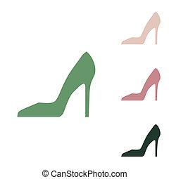 sable, petit, jungle, arrière-plan., russe, signe., ceux, illustration., femme, icône, blanc, vert, vert, chaussure, puce, désert