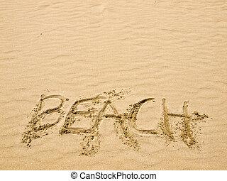 sable plage, ensoleillé, écrit, jour