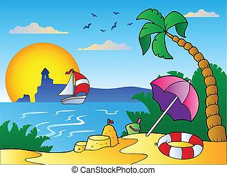 sable plage, parapluie, château