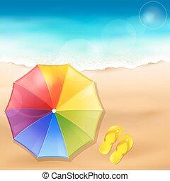 sable plage, parapluie