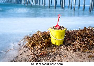 sable plage, seau