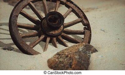 sable, roue, grand, bois