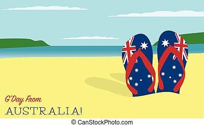 sable, scène, jour, australie, vecteur, format., thongs