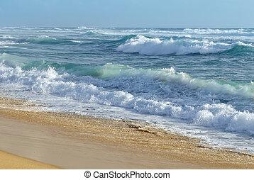 sable, vagues, orageux, atteindre