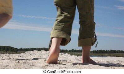 sable, vue, dos, famille, va
