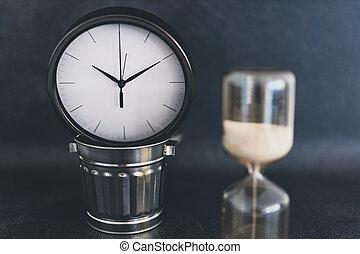 sablier, horloge, déchets, pas, miniature, temps, casier, bureau, énorme, gaspillage, business