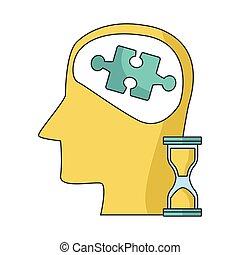 sablier, puzzle, tête, morceau