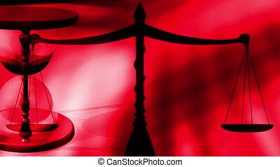 sablier, rouges, balance justice
