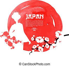 sablon, háttér, illustration., vízfestmény, cseresznye, skicc, kéz, húzott, japán