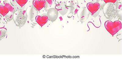 sablon, heart., forma, valentine's, ábra, levegő, gyakorlatias, vektor, konfetti, léggömb, nap, szerpentin