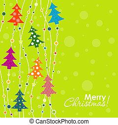 sablon, karácsony, köszönés kártya, vektor