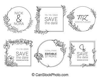 sablon, koszorú, virágos, esküvő, minimális, meghívás, vektor, design.