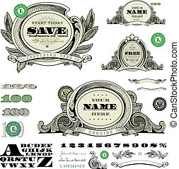sablon, pénz, állhatatos, vektor, keret