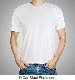 sablon, szürke háttér, fiatal, póló, ember, fehér