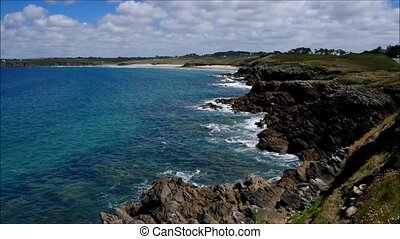 sablons, from, bretagne, france, cote, abers, blancs, plage