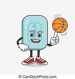 sabonetes, azul, basquetebol, personagem, caricatura, mascote