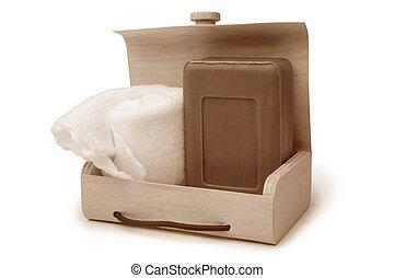 sabonetes, caixa madeira, banheiro, toalha banho