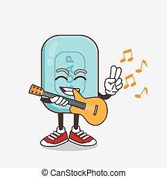 sabonetes, violão jogo, azul, personagem, caricatura, mascote