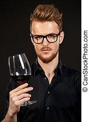 sabor, de, vino rojo