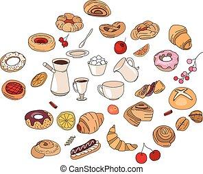 sabor, pastry., diferente, conjunto, color.