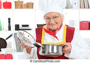sabor, un, sopa