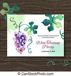 saboreo, card., vino, ilustración, fiesta, vector, acuarela, diseño