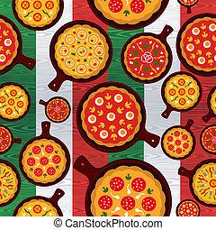 sabores, padrão, italiano, pizza