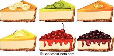 sabores, pastel de queso, diferente, conjunto