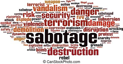 Sabotage word cloud concept. Vector illustration