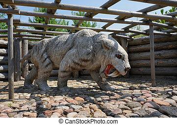 Sabre-toothed tiger. Model of Smilodon - Sabre-toothed tiger...