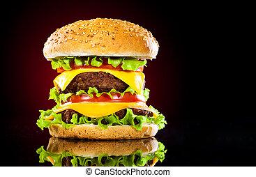 sabroso, apetitoso, hamburguesa, rojo, misteriosamente