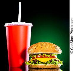 sabroso, apetitoso, hamburguesa, verde, misteriosamente