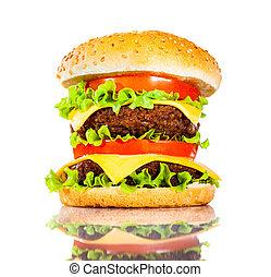 sabroso, blanco, hamburguesa, apetitoso