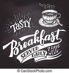 sabroso, desayuno, servido, diario, pizarra, letras