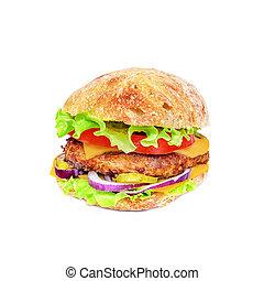 sabroso, hamburguesa, apetitoso