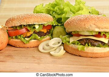 sabroso, hamburguesa