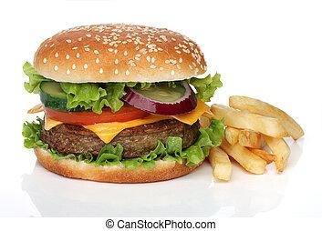 sabroso, hamburguesa, y, papas fritas