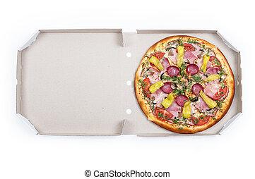 sabroso, pizza, en caja